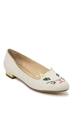 Charlotte Olympia Off White Kitty Flat // I wish these were puppies instead.