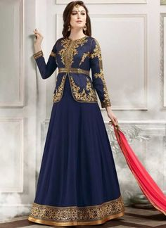Blue Pink Embroidery Work Georgette Chiffon Designer Long Wedding Anarkali Suit http://www.angelnx.com/Salwar-Kameez/Anarkali-Suits