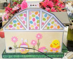 GRUMPY GRANDMA CREATIONS adorable Easter themed DIY paper barn gift box decor #svgfiles #papercrafts