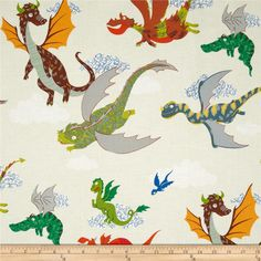 Monkey's Bizness The Dragons Oatmeal from @fabricdotcom  Designed by DeLeon Design Group for Alexander Henry, this cotton print is perfect for quilting, apparel and home decor accents. Colors include green, grey, orange, red, and cream.