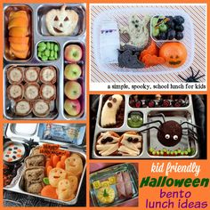 Kid-Friendly Halloween Bento Lunch Ideas A round-up of the funnest and spookiest Halloween Bento Lunch Ideas and Boxes around the web. With a few bento tools, these lunches can spook anyone! Halloween Food Crafts, Halloween Snacks, Spooky Halloween, Kids Meals, Family Meals, Toddler Meals, Lunch Snacks, Lunch Box, Kid Lunches