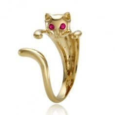 14k gold cat ring
