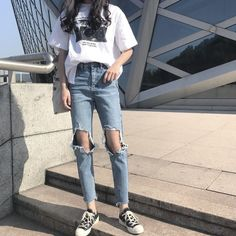 春韓国風シンプルダメージ加工デニムパンツ