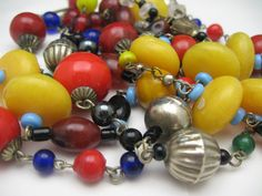 Colorful Boho Hippie Necklace 57 inches from antiquesalad on Ruby Lane