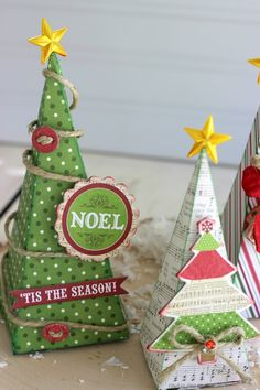 Christmas Trees made from the #echoparkpaper Home for the Holidays kit and a #silhoutteamerica cut file