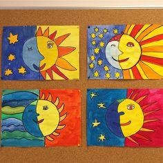 Lady Sun 🌞and Mister Moon🌜 Kids Art Class, Art Lessons For Kids, Art Lessons Elementary, Art For Kids, Sun Crafts, Diy And Crafts, Arts And Crafts, Arte Elemental, 2nd Grade Art