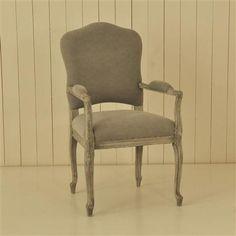 ACHICA   OneWorld Oak Carver Chair, Light Grey
