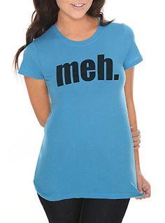 Meh. Turquoise Girls T-Shirt, BLACK