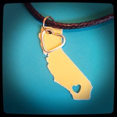 California necklace customized with color of your choosing going away present long distance relationship by MollysHandmadeGifts on Etsy https://www.etsy.com/listing/240625210/california-necklace-customized-with
