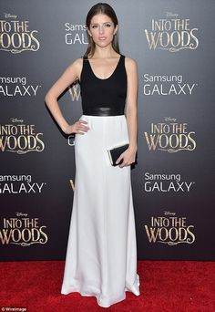 Anna Kendrick, who plays Cinderella in the movie, looked lovely in a black and white Narciso Rodriguez dress