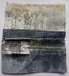 Debbie Lyddon, Small Marshscape – Metal Jetty, Cloth, Stitch, Wax, approx. 14x14cms