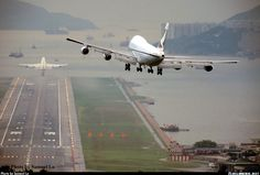 Cathay Pacific approaching old Hong Kong Airport Kai Tak Airplane Drone, Airplane Travel, Kai Tak Airport, Plane Photography, Cathay Pacific, Jumbo Jet, Passenger Aircraft, Aviation Industry, Civil Aviation