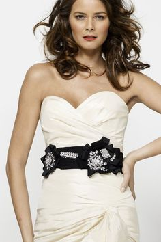 Ribbon sash with brooch like details.    #Watters #Belt #Accessories