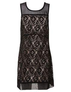 Tokito - Sheer Bodice Lace Shift Dress in Black RRP $89.95