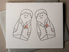 Letterpress matryoshki (nesting dolls) female same-sex marriage card (Style B) (#MAT009)