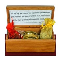 The Gift of Kings Scent Box, includes Frankincense, Myrrh, a gold leaf, incense burner and smokeless charcoal.  http://www.worldtravelart.com/Gift_of_Kings_Frankincense_and_Myrrh_Chest_p/99913.htm