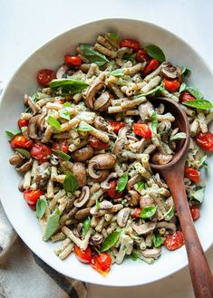 BASIL TAHINI PASTA WITH BURST TOMATOES & MUSHROOMS