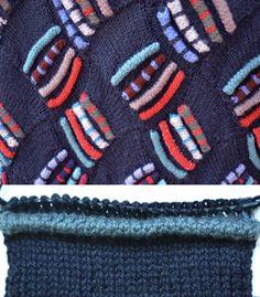 Extreme Tucks (Welts)- alternating colors--in entrelac! Knitting Designs, Knitting Stitches, Knitting Projects, Hand Knitting, Knitting Machine, Stitch Patterns, Knitting Patterns, Crochet Wool, Fabric Manipulation