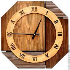 Часы для дома ручной работы. Ярмарка Мастеров - ручная работа. Купить Настенные часы «Старое дерево №2». Handmade. Коричневый