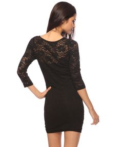 sheer yoke lace dress