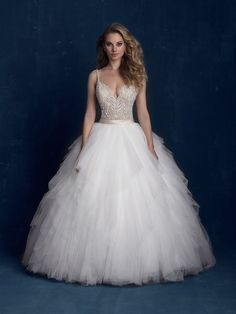 Allure Bridals 9425 Beaded Bodice Tiered Tulle Ball Gown Wedding Dress