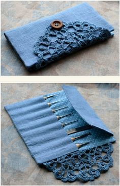 Cute clutch.  Use for make-up brushes, crochet needles etc.  Love the dyed doily closing.