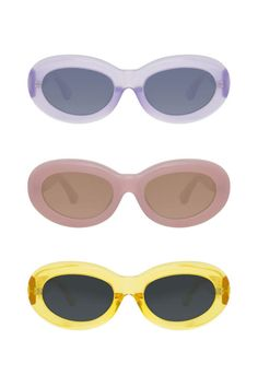 Retro sunglasses will be all the rage this summer with their round shape and larger than life frames. Try the trend  by rocking these Linda Farrow x Dries Van Noten Oval Sunglasses, available in fun colors.