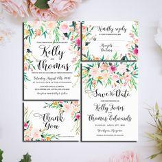 Romantic Garden Printable Wedding Invitation Suite floral