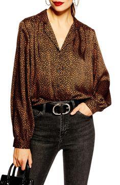 Topshop Jessica Print Shirt available at Tan Chinos, Satin Midi Skirt, Grey Skinny Jeans, Casual Tops, Autumn Winter Fashion, Printed Shirts, Long Sleeve Shirts, Topshop, Nordstrom
