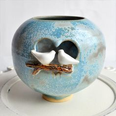 Love Birds Luminary from Lee Wolfe Pottery - in stock now