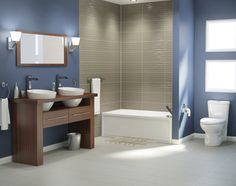Une salle de bains de style Authentique, moderne et élégante. | A modern and elegant Authentic style bathroom. #bathroom #salledebains