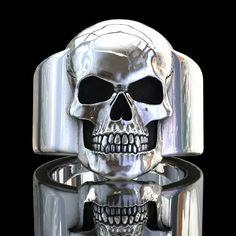 Skull rings, handmade original sterling silver skull jewellery by London jeweller John Patrick. Unique skull ring creations from a leading London based designer. Mens Skull Rings, Silver Skull Ring, Silver Cat, Sapphire Birthstone, Skull Jewelry, Hippie Jewelry, Men's Jewelry, Skull Art, Silver Rounds