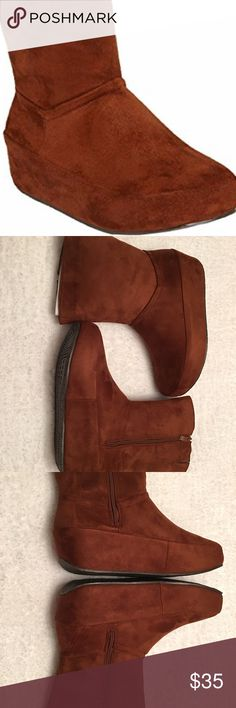 "💥💥Last Pair, Comfy Platform Bottom Boots💥💥 This trendy boot is microsuede with a full zipper and platform bottom. 2"" heel is comfortable, beautiful Cognac color, Size 10M, Mid-calf, New in box Comfortview Shoes Ankle Boots & Booties"