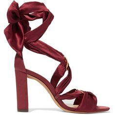 Alexandre Birman Alessa lace-up satin sandals (735 RON) ❤ liked on Polyvore featuring shoes, sandals, heels, claret, high heeled footwear, heeled sandals, lace up heeled shoes, burgundy high heel shoes and block heel sandals