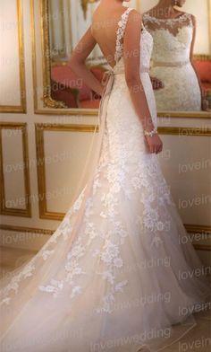 Elegant Lace Wedding DressAline Wedding by Loveinwedding on Etsy, $249.00