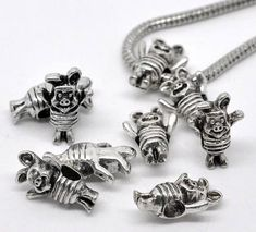 Large pig bead antique silver metal x 4