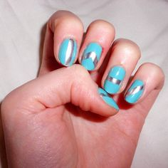 Nail'Art turquoise et argent