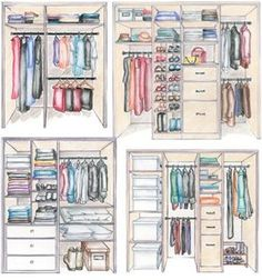 Different variations of wardrobe layouts