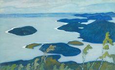 Gouache on paper, x cm Lappland, Paul Gauguin, True Art, Summer Art, Landscape Paintings, Landscapes, Gouache, Printmaking, Scandinavian