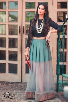 Fusion Indian Look. #CropTop #Sheer pleated skirt by HUEMN and jewellery by loveforprettythings.com