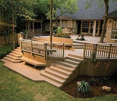 Deck with two sets of stairs