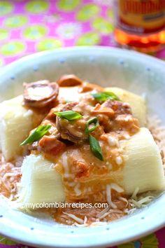 Yuca Chorriada con Chorizo (Cassava with Chorizo and Cheese Sauce) | My Colombian Recipes