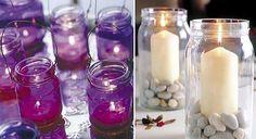 MANUALIDADES CON FRASCOS Ideas Vintage, Cleaning Hacks, Tea Lights, Mason Jars, Candles, Diy, Peace, Home, Chandeliers