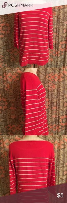 Forever 21 Nautical Stripe Sweater Cotton nautical stripe sweater from Forever 21. Boatneck and cropped sleeve. Red with thin white stripes. Washed and worn. Size Small. Hits at upper hip. Forever 21 Sweaters Crew & Scoop Necks