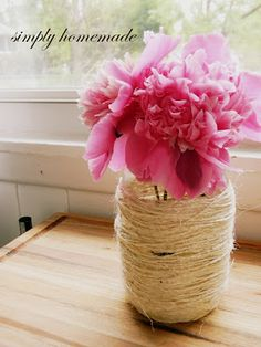 twine wrapped glass jars - vases