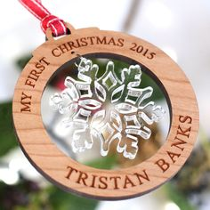 Personalised Wooden My First Christmas Tree Decorations Snowflake Bauble Gift