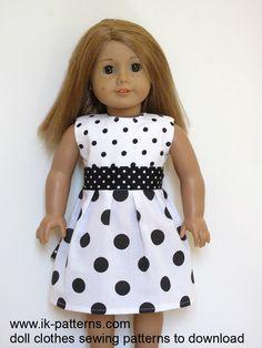White & black polka dot dress for American Girl doll (pattern for dress set) Ropa American Girl, American Girl Dress, American Doll Clothes, Sewing Doll Clothes, Girl Doll Clothes, Girl Dolls, Ag Dolls, Dress Sewing, Doll Dress Patterns