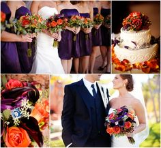 Orange and purple flowers and bouquets...I would have my Maid of Honor in purple and the rest of the Bridesmaids in burnt orange. Perfect for a fall wedding♥