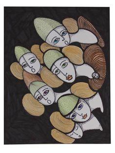 DIBUJO K-11 -  #Acuarela, #Amarillo, #Arte, #BlancNoise, #Mujer, #NEGRO, #Teresa_Cornejo, #Tinta
