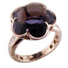 Anello Pasquale Bruni collezione Bon Ton oro rosa, quarzo fumè e diamanti 14824R - Casa Capone Jewelry